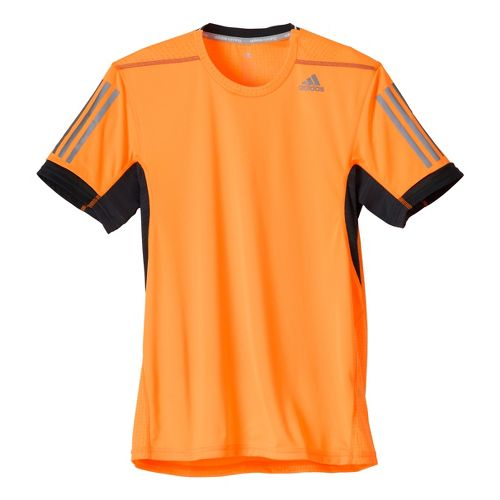 Mens adidas Supernova Short Sleeve Technical Tops - Black/Red Orange XL