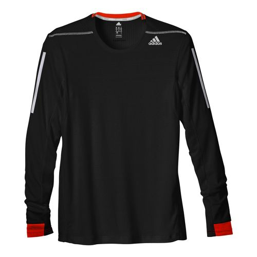 Mens adidas Supernova Long Sleeve No Zip Technical Tops - Black/Red Orange XL