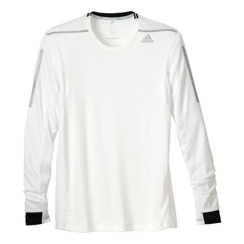 Mens adidas Supernova Long Sleeve No Zip Technical Tops - White/Black L