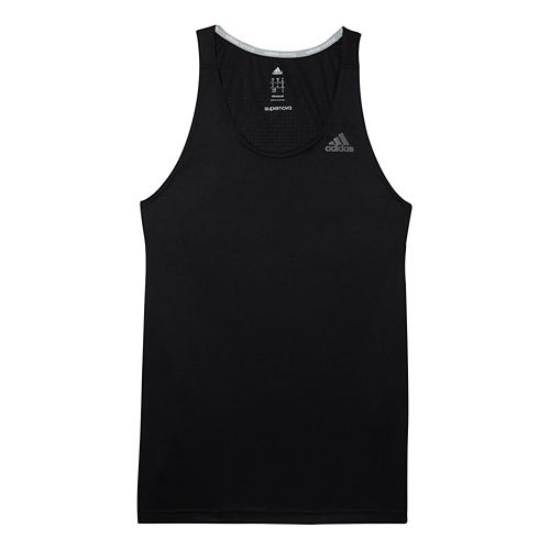 Mens adidas Supernova Singlet Tanks Technical Tops - Black M