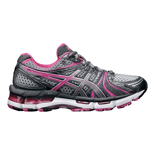 Womens ASICS GEL-Kayano 18 Running Shoe - Titanium/Pink 12