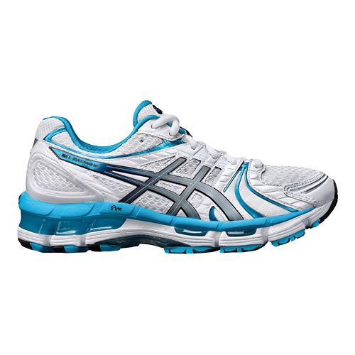 Womens ASICS GEL-Kayano 18 Running Shoe - White/Blue 10.5