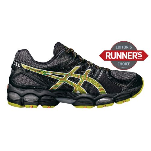 Men's ASICS GEL-Nimbus 14 Running Shoe - Black/Lime 10