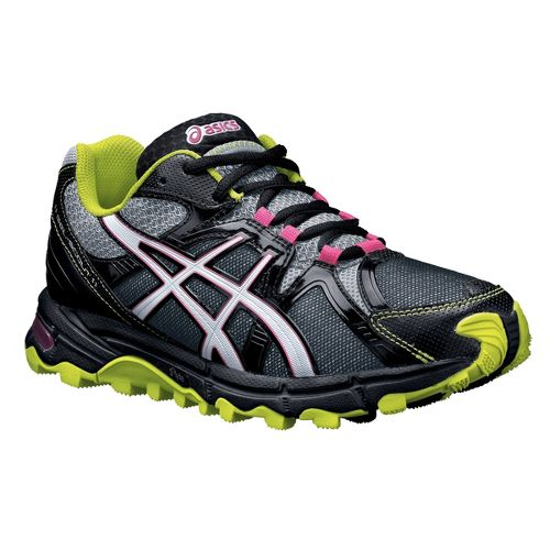 Womens ASICS Gel-Scout Trail Running Shoe - Black/Lime 10.5
