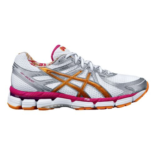 Womens ASICS GT-2000 Running Shoe - White/Orange 7
