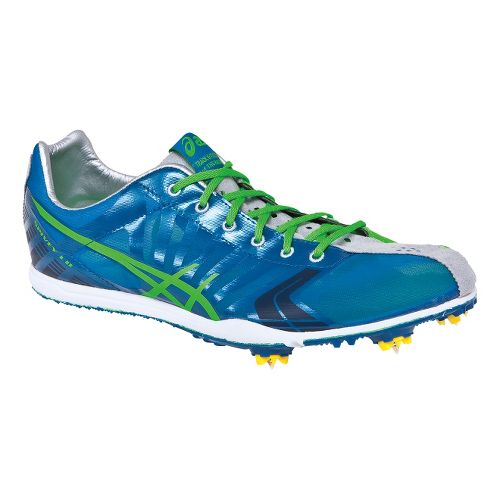 Mens ASICS Spivey LD Track and Field Shoe - Green/Blue 8.5