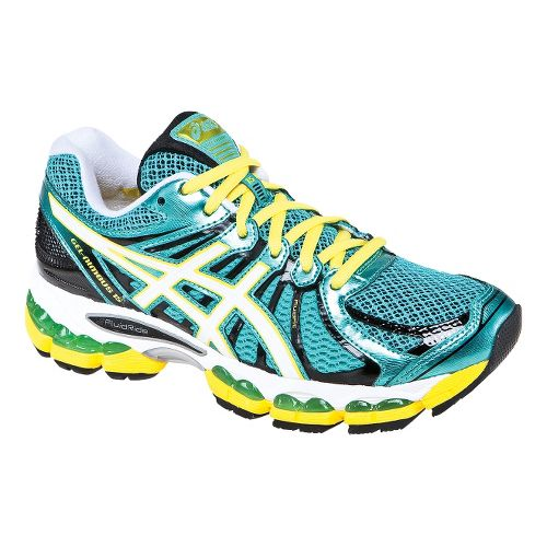 Womens ASICS GEL-Nimbus 15 Running Shoe - Green/Yellow 10.5