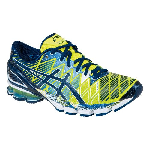 Mens ASICS GEL-Kinsei 5 Running Shoe - Flash Yellow/Blue Depths 14