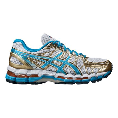 Womens ASICS GEL-Kayano 20 Running Shoe - White/Gold 10