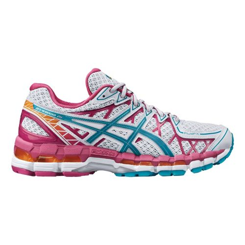 Womens ASICS GEL-Kayano 20 Running Shoe - White/Pink 12