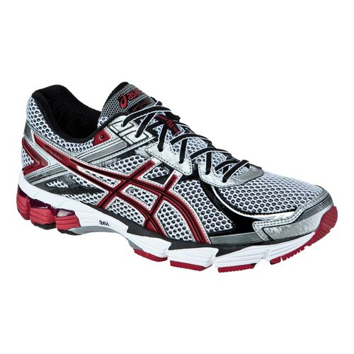 Mens ASICS GT-1000 2 Running Shoe - White/Maroon 9