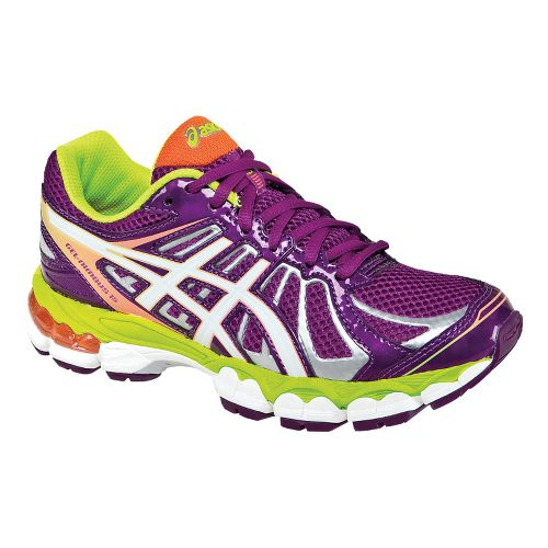 Kids ASICS GEL-Nimbus 15 GS Running Shoe - Purple/Lime 1.5