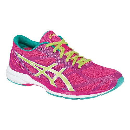 Womens ASICS GEL-DS Racer 10 Racing Shoe - Pink/Lime 9.5