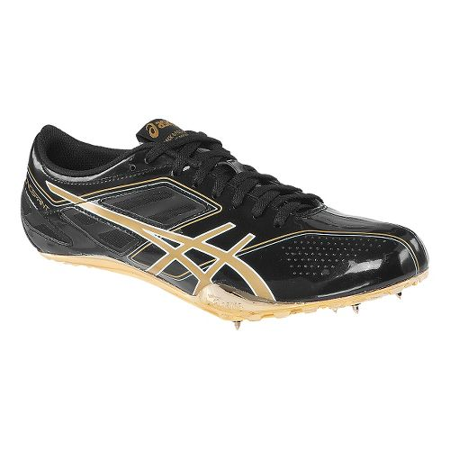 Mens ASICS SonicSprint Track and Field Shoe - Onyx/Gold 11.5