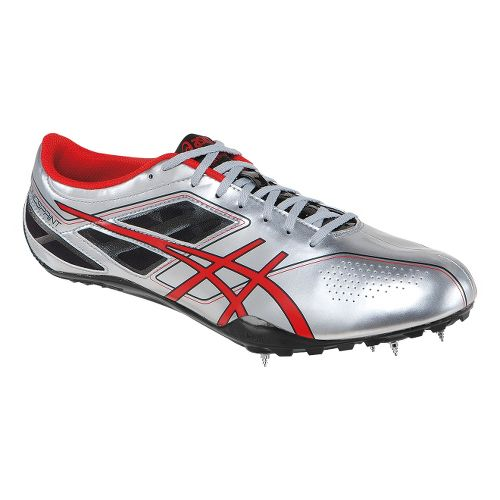 Mens ASICS SonicSprint Track and Field Shoe - Silver/Red 11.5