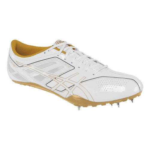 Womens ASICS SonicSprint Track and Field Shoe - White/Gold 7.5