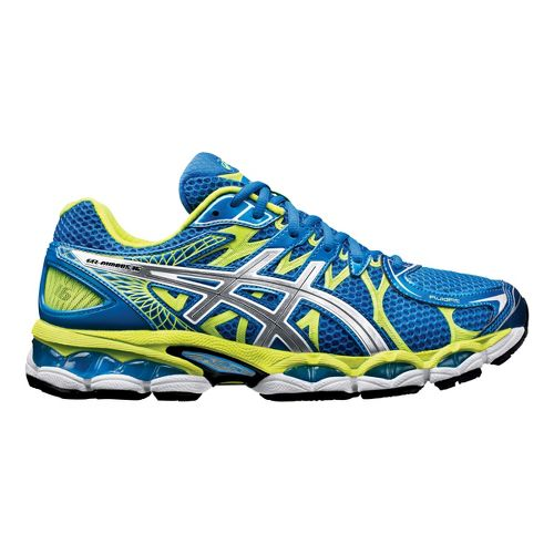 Mens ASICS GEL-Nimbus 16 Running Shoe - Blue/Lime 11.5