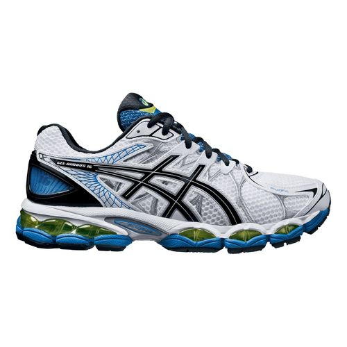 Mens ASICS GEL-Nimbus 16 Running Shoe - White/Black 7.5