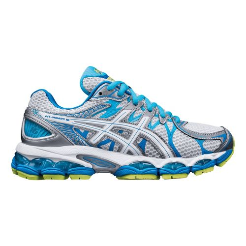 Womens ASICS GEL-Nimbus 16 Running Shoe - Grey/Turquoise 10.5