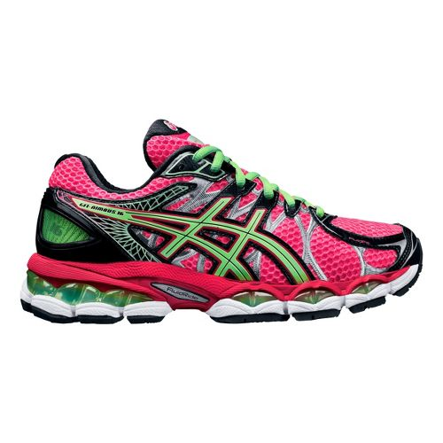 Womens ASICS GEL-Nimbus 16 Running Shoe - Pink/Green 5