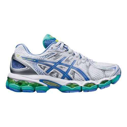 Womens ASICS GEL-Nimbus 16 Running Shoe - White/Periwinkle 12.5