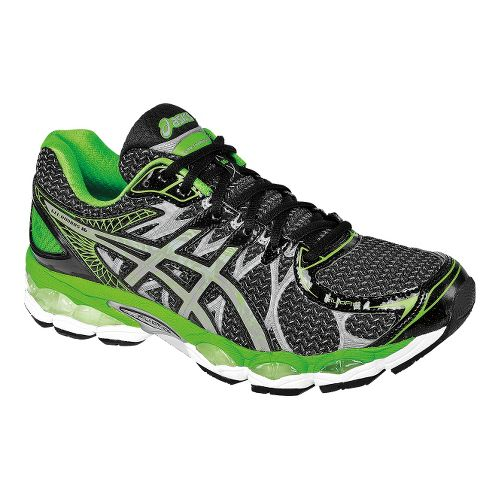 Mens ASICS GEL-Nimbus 16 Lite-Show Running Shoe - Black/Green 10.5