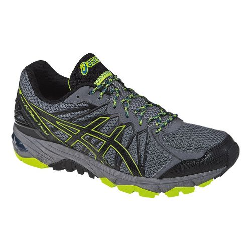 Mens ASICS GEL-FujiTrabuco 3 Neutral Trail Running Shoe - Grey/Lime 10.5