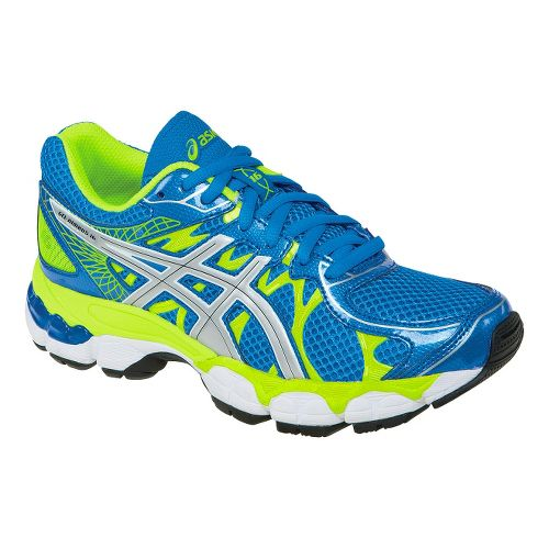 Kids ASICS GEL-Nimbus 16 GS Running Shoe - Blue/Lime 1.5