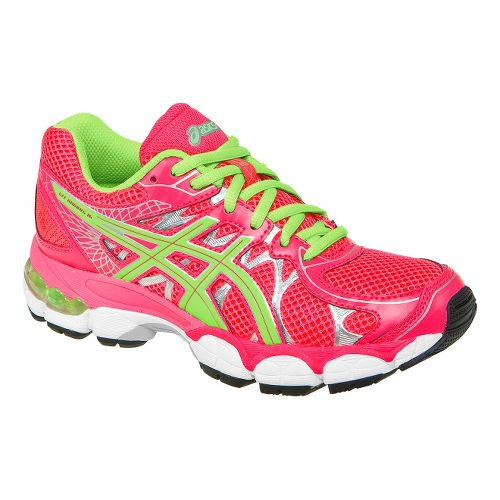 Kids ASICS GEL-Nimbus 16 GS Running Shoe - Pink/Lime 2.5