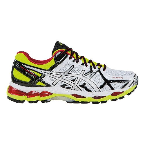 Mens ASICS GEL-Kayano 21 Running Shoe - White/Lime 12.5