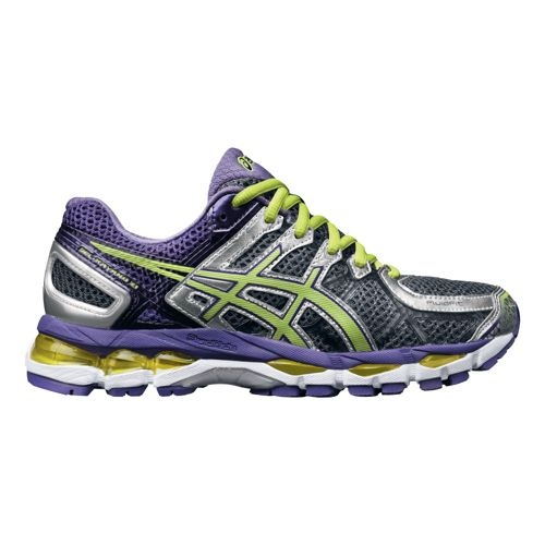 Womens ASICS GEL-Kayano 21 Running Shoe - Charcoal/Purple 10