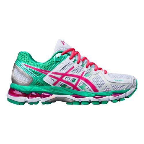 Womens ASICS GEL-Kayano 21 Running Shoe - White/Emerald 5