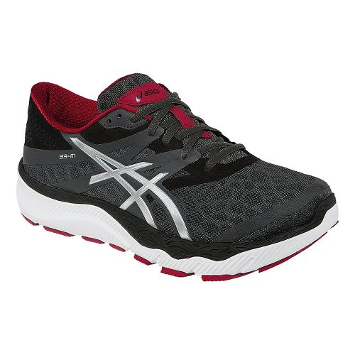 Mens ASICS 33-M Running Shoe - Dark Grey/Red 8.5