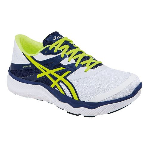 Mens ASICS 33-M Running Shoe - White/Navy 12.5
