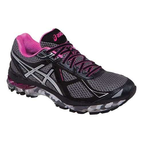Womens ASICS GT-2000 3 Trail Running Shoe - Charcoal/Pink 7.5
