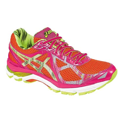 Womens ASICS GT-2000 3 Lite-Show Running Shoe - Red/Yellow 8.5