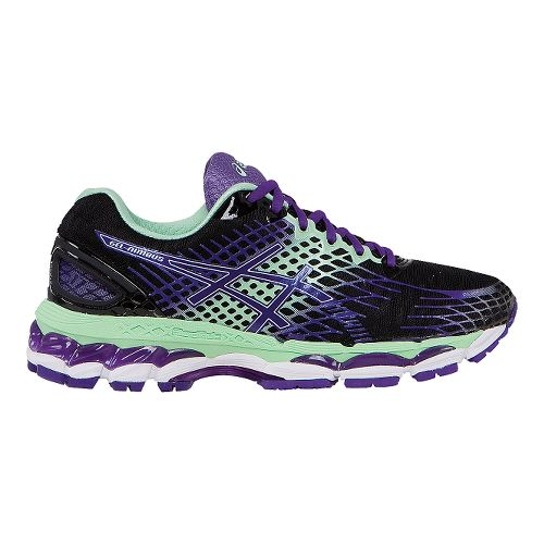 Womens ASICS GEL-Nimbus 17 Running Shoe - Onyx/Purple 12