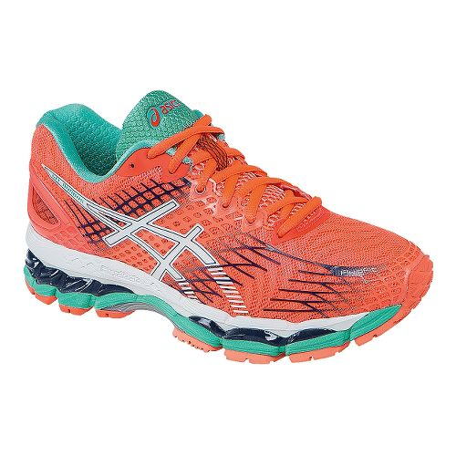 Womens ASICS GEL-Nimbus 17 Running Shoe - Coral/White 11.5