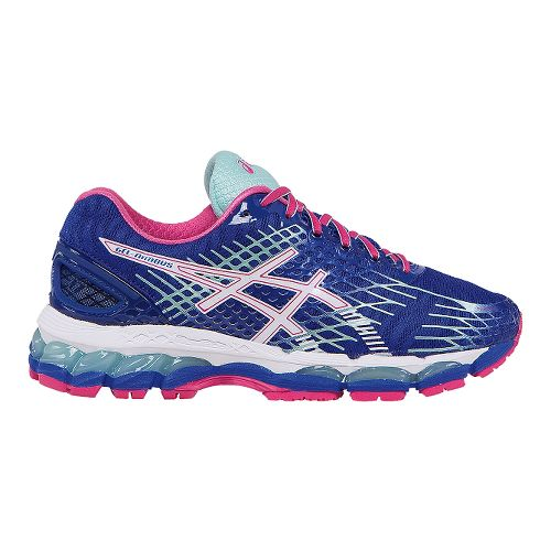 Womens ASICS GEL-Nimbus 17 Running Shoe - Deep Blue/Pink 7