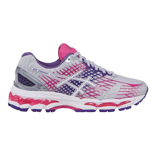 Womens ASICS GEL-Nimbus 17 Running Shoe - Grey/Pink 10.5