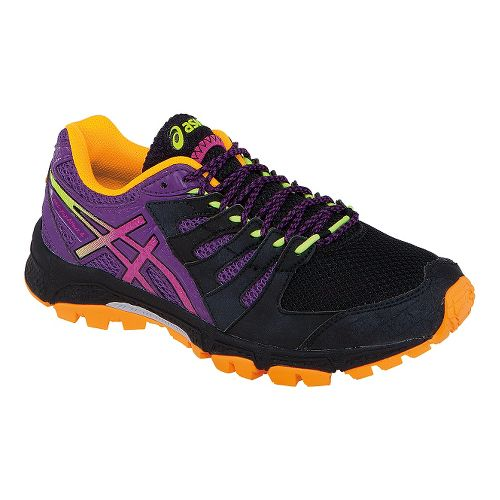 Womens ASICS GEL-FujiAttack 4 Trail Running Shoe - Black/Purple 7.5