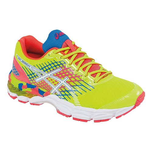 Kids ASICS GEL-Nimbus 17 Running Shoe - Yellow/Pink 1Y