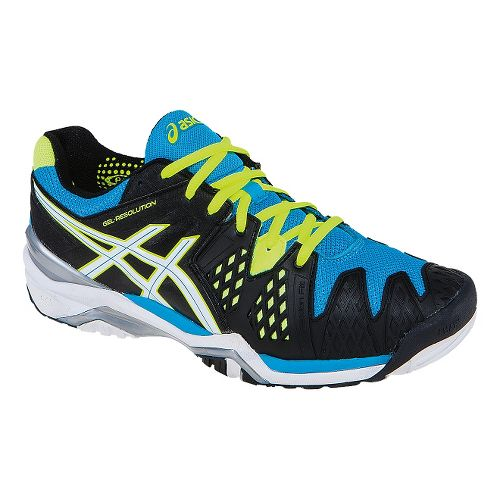 Mens ASICS GEL-Resolution 6 Court Shoe - Onyx/Atomic Blue 9.5