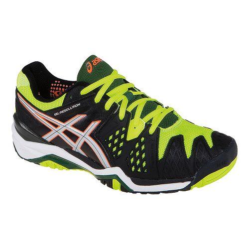 Mens ASICS GEL-Resolution 6 Court Shoe - Onyx/Flash Yellow 12.5