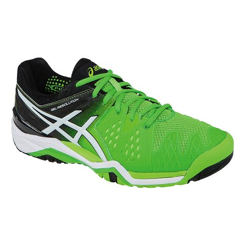 Mens ASICS GEL-Resolution 6 Court Shoe - Flash Green/White 12.5