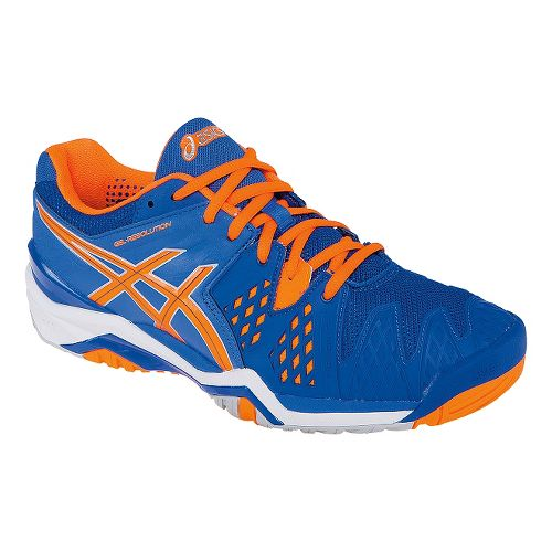 Mens ASICS GEL-Resolution 6 Court Shoe - Blue/Flash Orange 12