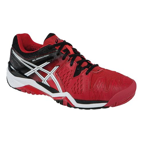 Mens ASICS GEL-Resolution 6 Court Shoe - Fiery Red/Black 10.5