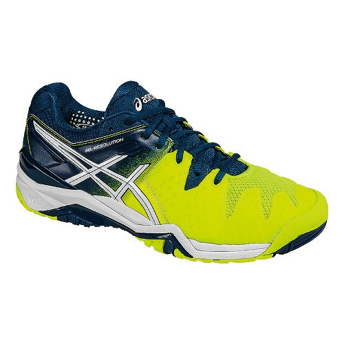Mens ASICS GEL-Resolution 6 Court Shoe - Safety Yellow/White 11.5