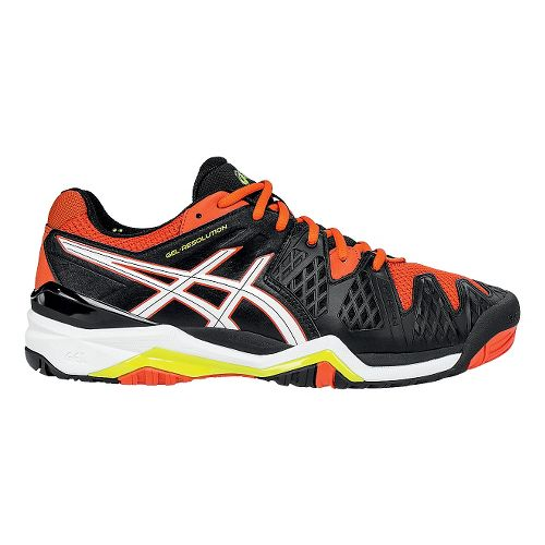 Mens ASICS GEL-Resolution 6 Court Shoe - Onyx/Flash Yellow 6.5