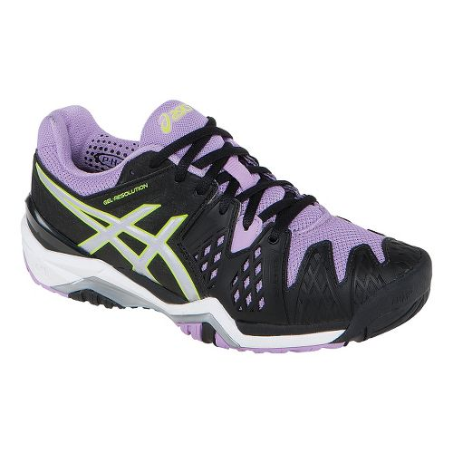 Womens ASICS GEL-Resolution 6 Court Shoe - Black/Orchid 12